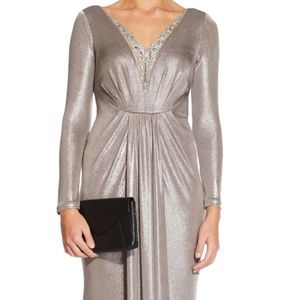 Adrianna Papell metallic gown with beaded neckline